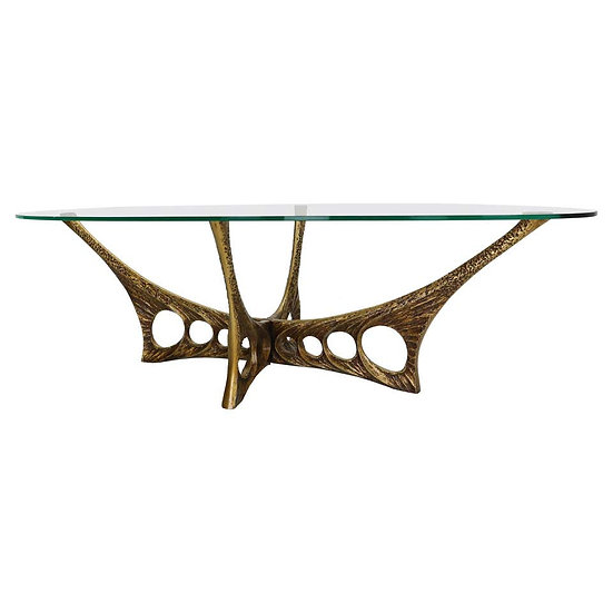 Willy Ceysens Brutalist Oval Glass and Bronze Coffee Table, 1965 Belgium
