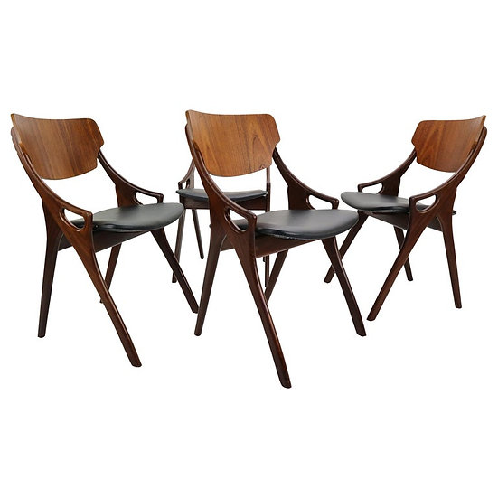 Set of 4 Arne Hovmand Olsen for Mogens Kold Dining Room Chairs, Denmark, 1960s