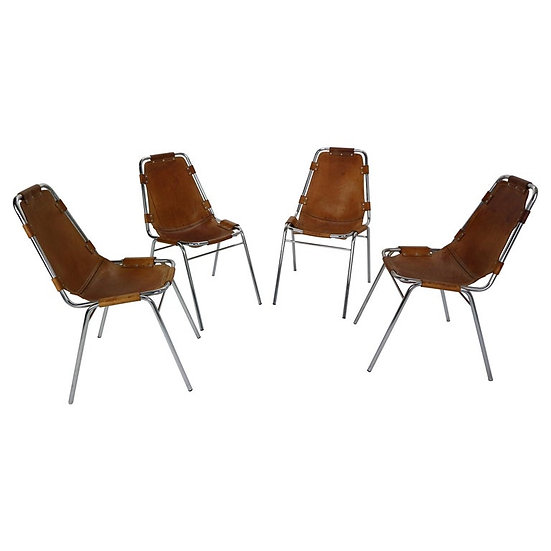 Set of 4 Leather 'Les Arcs' Chairs Selected Charlotte Perriand, 1970s, France