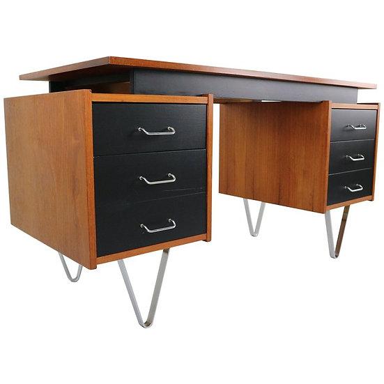 Cees Braakman Teak Desk with Triangle Legs for Pastoe, Dutch Design, 1950s
