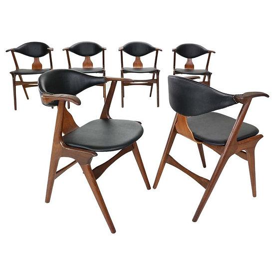 Louis Van Teeffelen Set of 6 Cow Horn Chairs for Awa, 1960s
