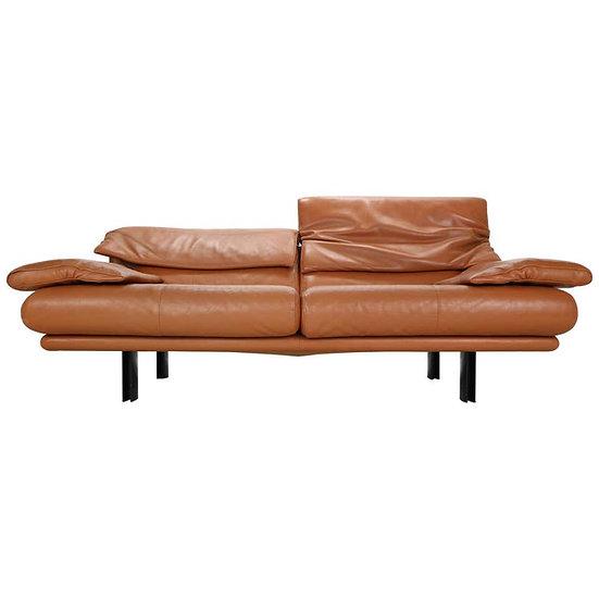 """Paolo Piva for B&B Italia """"Alanda"""" Cognac Leather Two Leather Sofa, 1980s"""