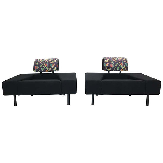 Pouffe Garni Set of 2 Lounge Chairs by Rob Eckhardt For Pastoe 1986 Dutch Design