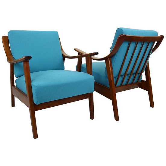 Set of 2 Danish Design Teak Armchairs, Newly Upholstered in Blue, 1960s