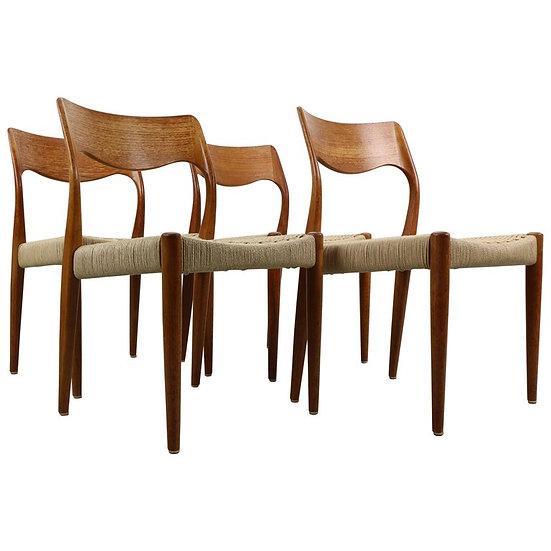 Set of 4 Niels O. Møller Dining Chairs- Model 71, Denmark