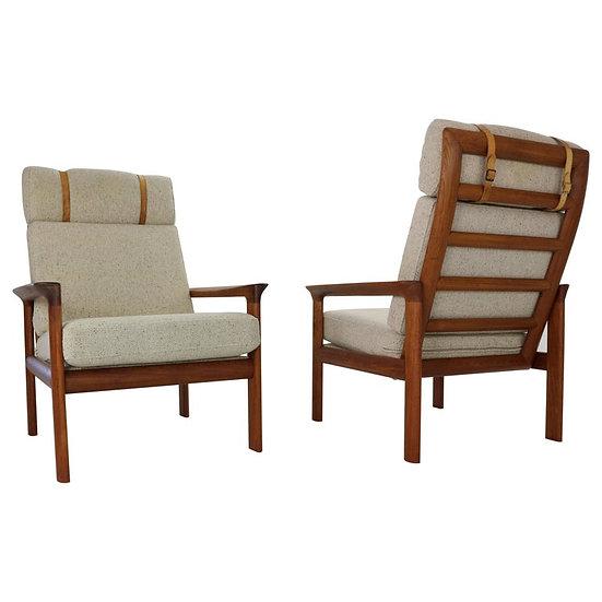 Sven Ellekaer Set of 2 Teak Lounge Chairsfor For Komfort, 1960s, Denmark
