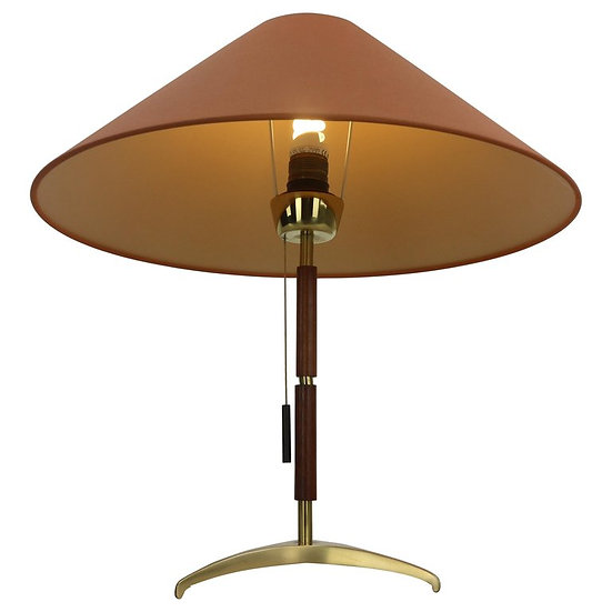 J. T. Kalmar Table Lamp Brass and Rosewood, 1950s