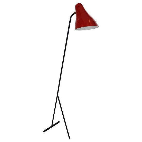 "JJM Hoogervorst Anvia ""Model 1503"" Red Floor Lamp, 1955 Dutch Minimalistic"
