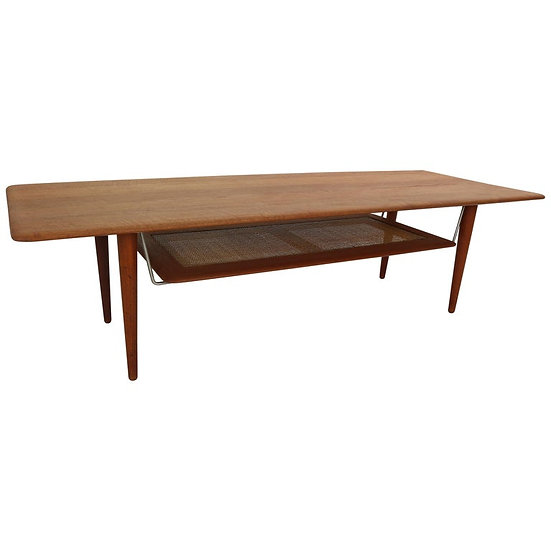 Peter Hvidt & Orla Mølgaard Nielsen Coffee Table with Cane Shelf M-FD516, 1956