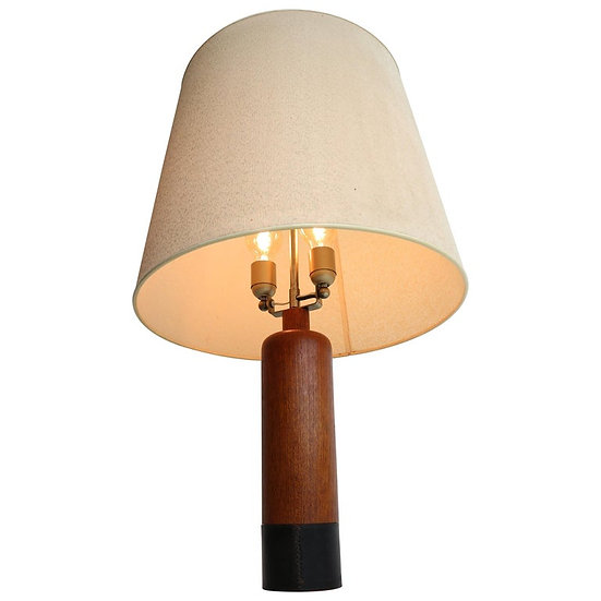 Vintage Danish Solid Teak and Leather Table Lamp from ESA, 1960s