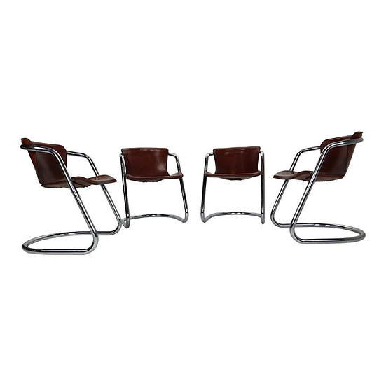 Set of 4 Willy Rizzo Leather Dining Chairs for Cidue, 1970s, Italy