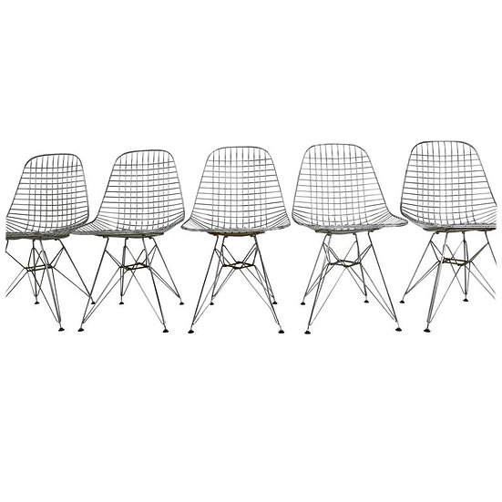 Set of Five Eames DKR Eiffel Base Wire Chairs for Vitra