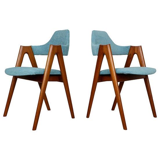 Set of 4 Teak Compass Chairs by Kai Kristiansen for SVA Møbler