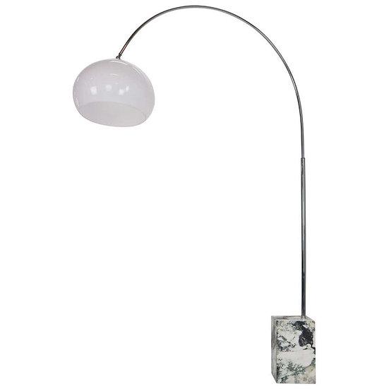 Midcentury Italian Arc Floor Lamp, Marble Base, Chrome, White Shade, 1970