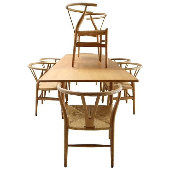 Hans J. Wegner Dinning Room Set- 8 Of Wishbone CH24 Chairs & Dining Table AT-312