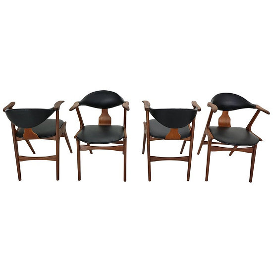 Set of 4 Cow Horn Chairs by Louis Van Teeffelen for Awa, 1960s