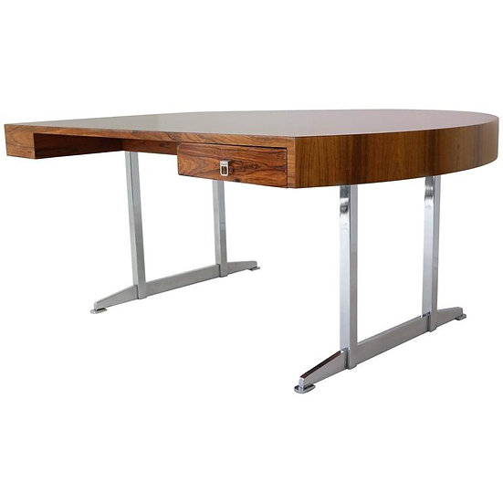 Half Round Mid-Century President Desk in Rosewood and Chrome Base