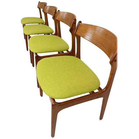 Set of Four Dining Room Chairs Designed by Erik Buck, 1967, Denmark and Produced