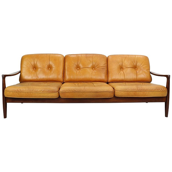 Vintage Cognac Leather Three-Seat Sofa, 1960s