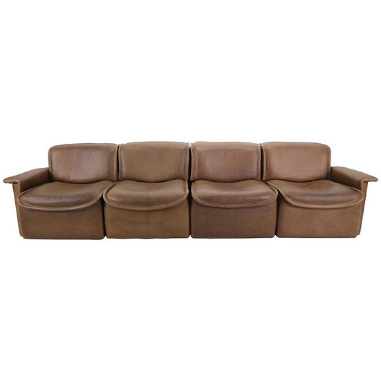 Vintage DS-12 Four-Seat Brown Leather Sofa by De Sede, Switzerland, 1970s