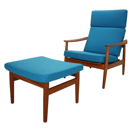 Lounge Chair FD-164 with Ottoman by Arne Vodder for France & Son, Denmark, 1960s