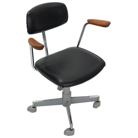 1960s Black Faux Leather Office Chair by Hag Norway