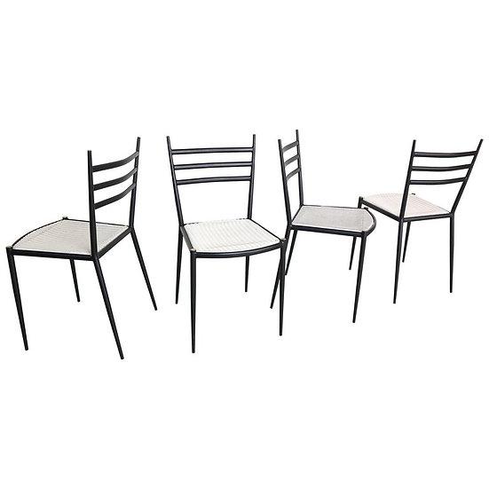 Set of Four Gio Ponti Superleggera Style Metal Dining Chairs, 1950s