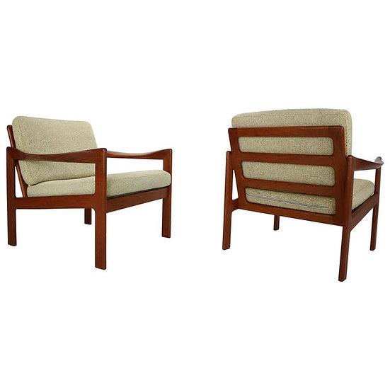 Set of Two Teak Lounge Chairs by Illum Wikkelsø for Niels Eilersen, 1960 Denmark