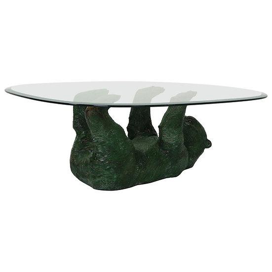 Hollywood Regency Rare Bronze Bear Coffee Table, Belgium, 1970s