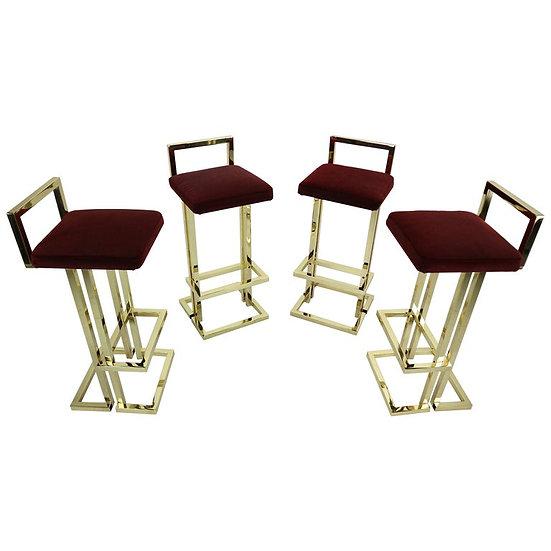 Set Of 4 Brass Bar Stools By Maison Jansen, France, 1970s