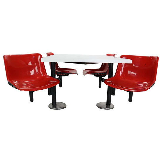Osvaldo Borsani Contemporary Table and 4 Build in Chairs for Tecno, 1970s
