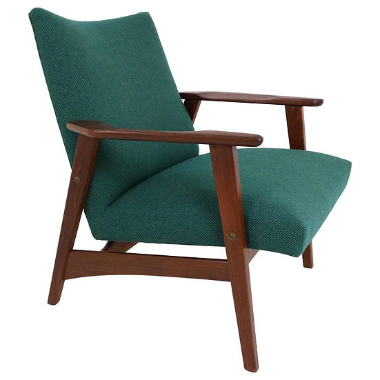 Danish design teak wood and wool lounge chair, 1960's