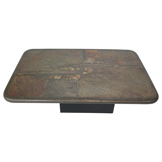 Brutalist Paul Kingma One-Off Artwork Stone & Brass Coffee Table, 1990 Holland