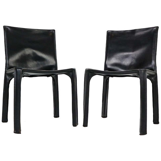 "Early Edition Mario Bellini ""Cab-412"" Set of 2 Leather Chairs for Cassina, 1970"