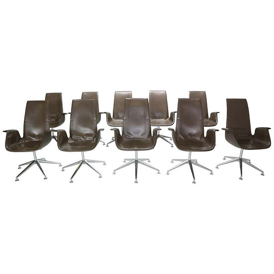 "Preben Fabricius & Jørgen Kastholm Set of 11 Chairs ""Bird"" Armchairs Model-FK672"