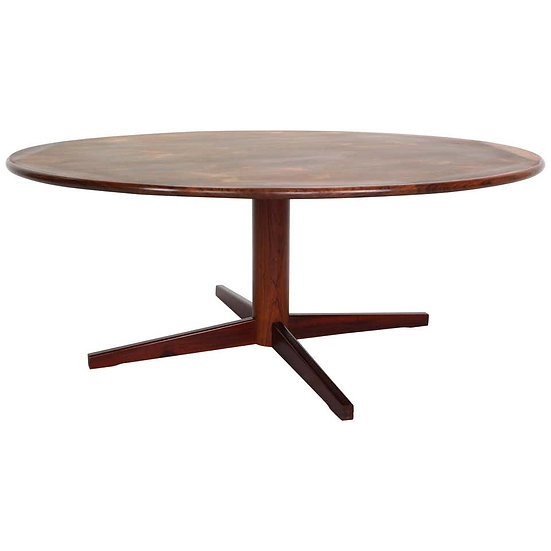 Midcentury Round Coffee Table in Rosewood, 1960s Netherlands