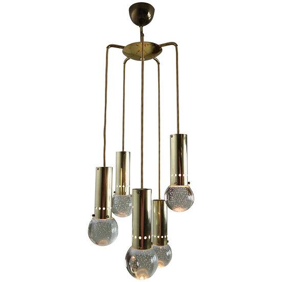 Gino Sarfatti for Arteluce Unique Brass Bubble Pendant Lamp, 1950, Italy