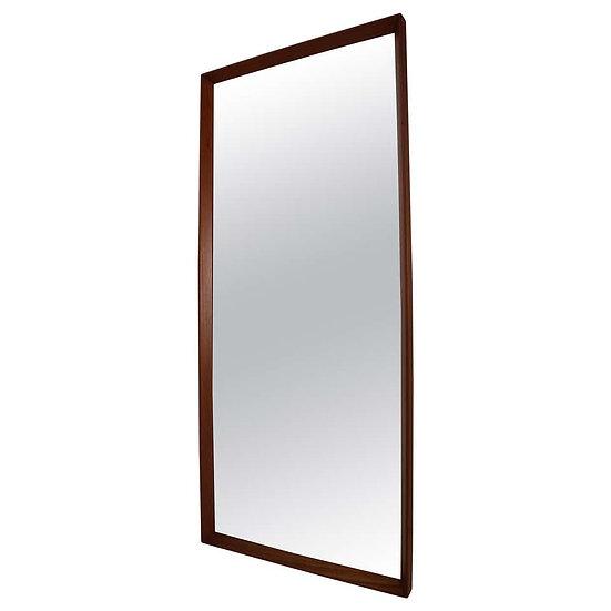 Scandinavian Modern Long Beveled Edge Teak Wall Mirror, 1950s, Denmark