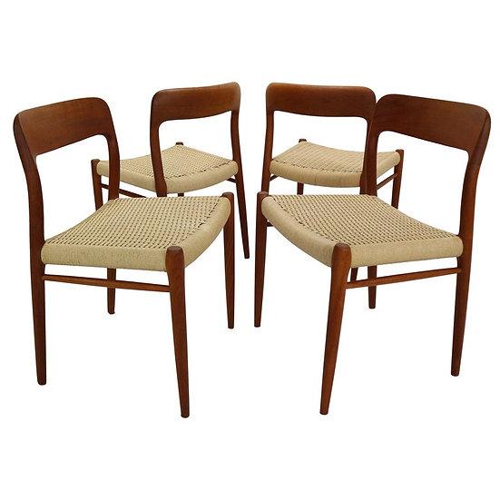 Set of 4 Dinning Room Chairs Designed by Niels Otto Møller, Model 75, Denmark