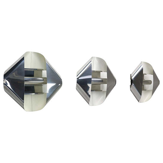 iGuzzini Chrome Wall or Celling Lights Set of 3, 1970s, Italy
