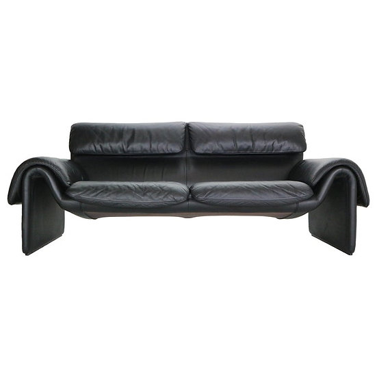 De Sede DS-2011 Black Leather Two Leather Sofa, Switzerland