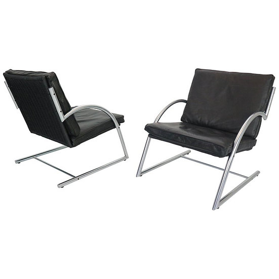 Set of 2 Lounge Armchairs by Gerard Van Den Berg for Rohe Noordwolde, 1980s