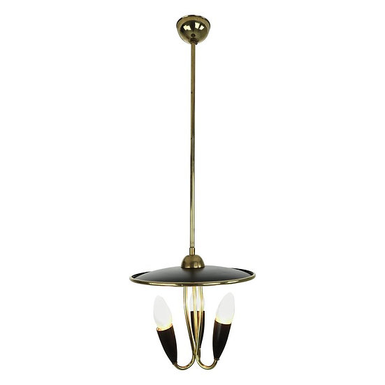 French Mid-Century Modern Brass and Black Metal Chandelier Lamp, 1950s