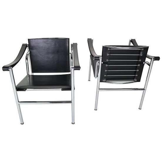 Set of 2 Black Leather Armchairs Model- LC1 by Le Corbusier for Cassina, 1970s