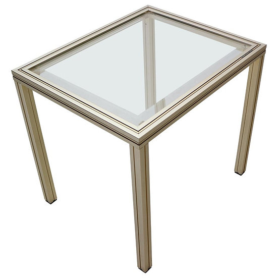 Pierre Vandel Painted Brass and Glass Side Table, 1970s, Paris