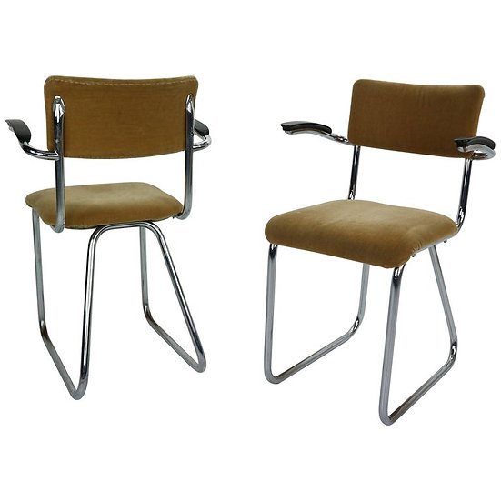 Set of 2 Industrial Armchairs in a Style of Gispen, 1960 Dutch Design
