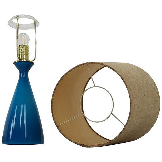 Midcentury Danish Glass Table Lamp by Kastrup Holmegaard
