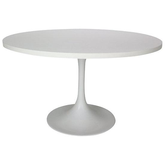 Midcentury White Tulip Round Dining Table, 1970s, Italy