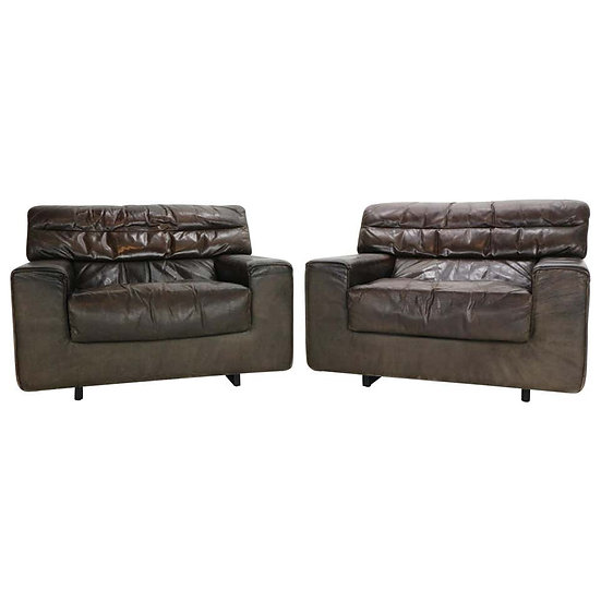 Walter Knoll International Set of 2 Brown Leather Lounge Chairs, 1970s