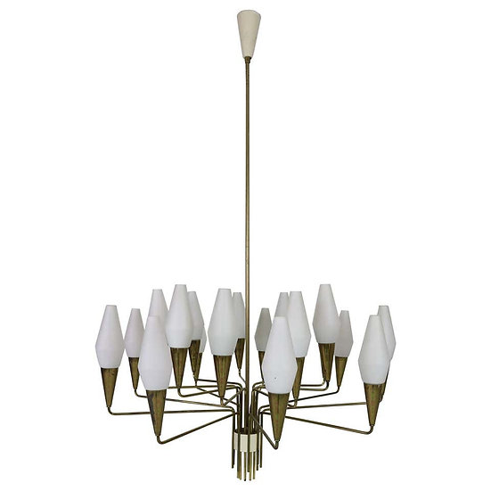 Italian Mid-Century Modern Brass and Opaline Glass Chandelier Extra Large, 1960